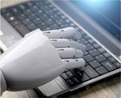 Cyborg hand typing
